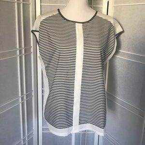 The Limited - Gray/White Stripe Sleeveless Blouse